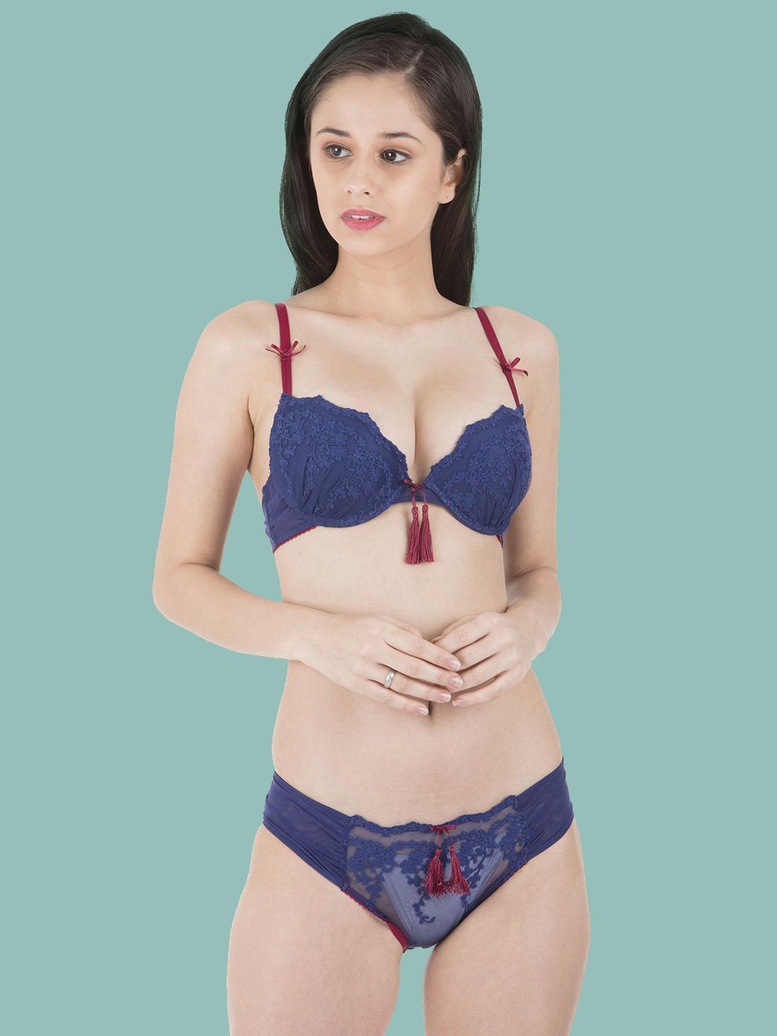 a6f9a713de Shyle Red Seamed Bralette Bra Panty Set