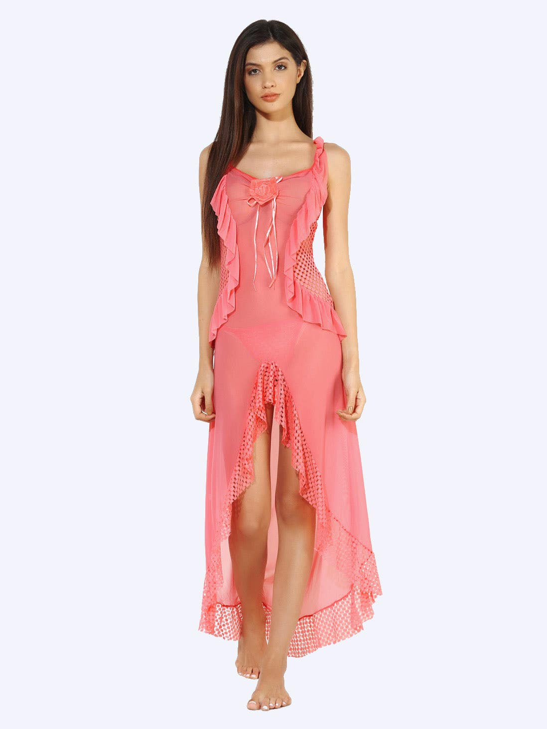 8dc41a26a85 Shyle Coral Pink Mesh with Net and Frills Attached Babydoll