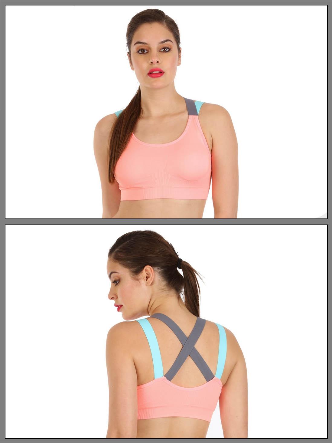 shyle neon peach ultra soft strappy back sports bra