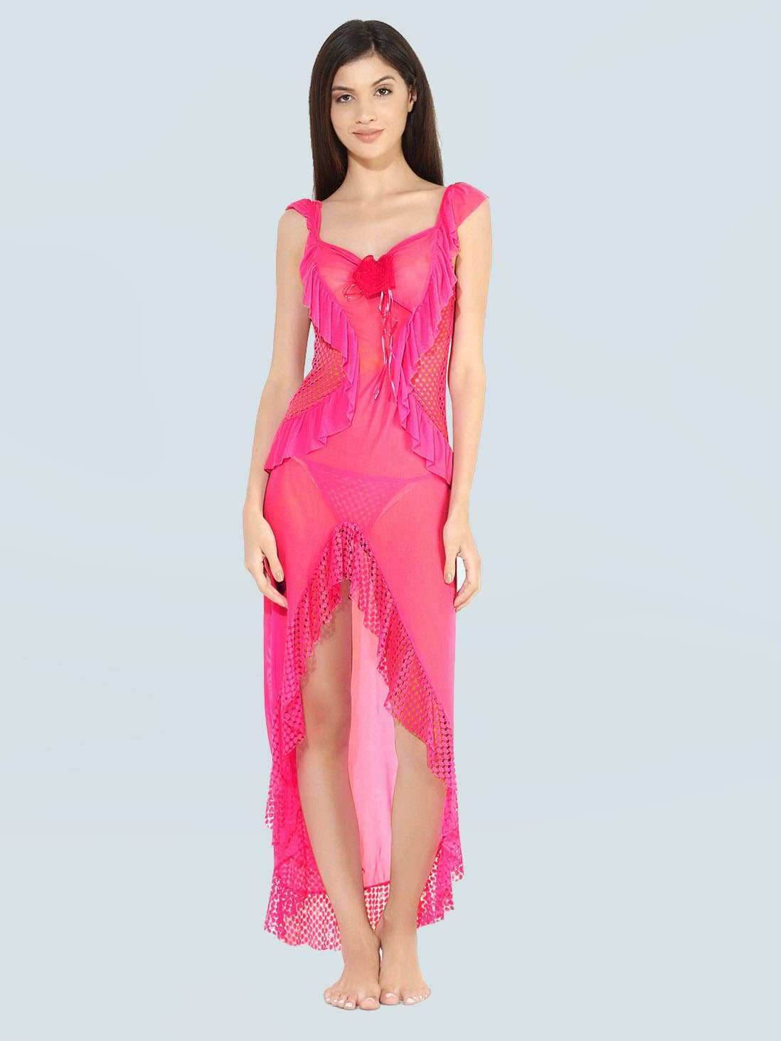 1ec61176e69 Shyle Neon Pink Mesh with Net and Frills Attached Babydoll
